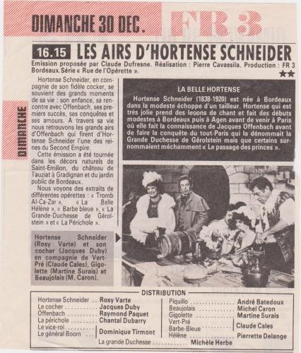 michel caron,france3,hortense schneider